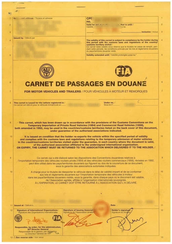 Carnet De Passage Malaysia (CPD)