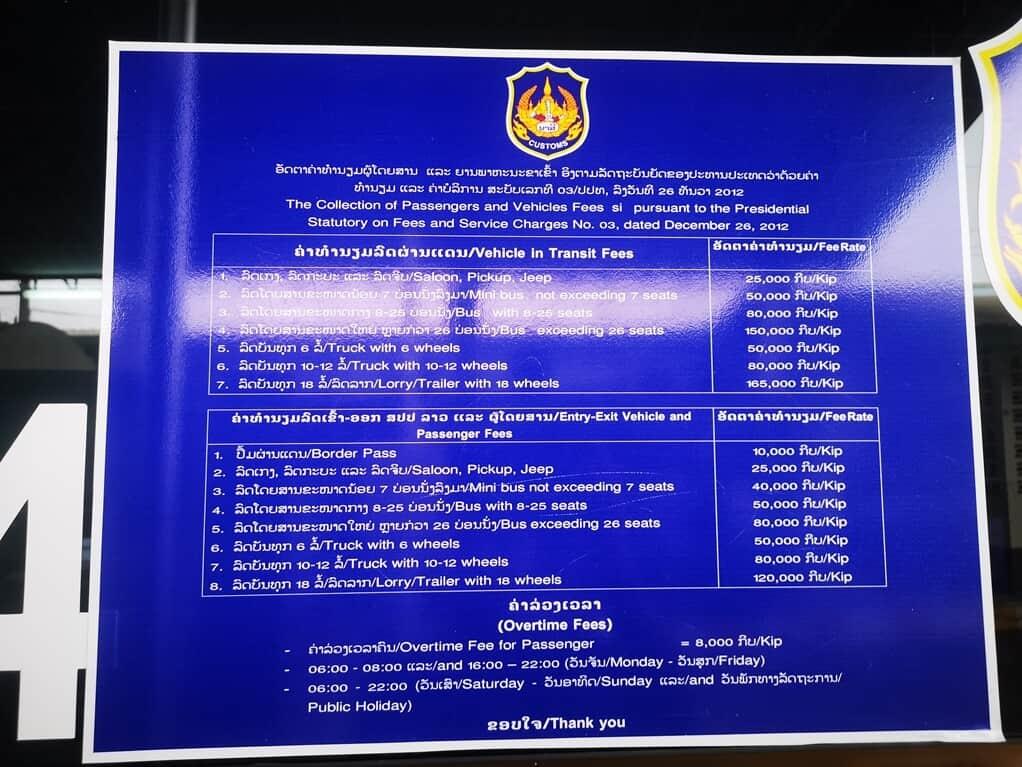 laos border fee