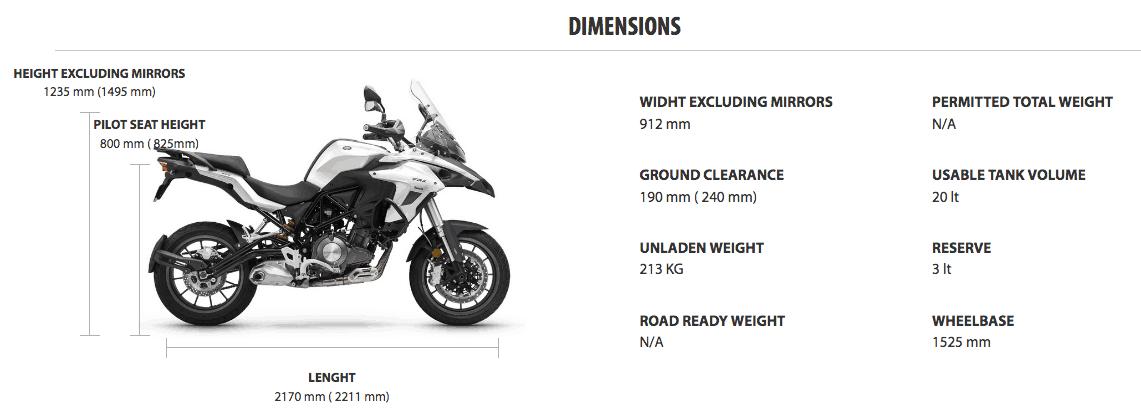 Benelli TRK 502 dimension specs