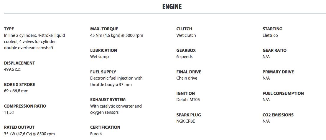Benelli TRK 502 engine specs
