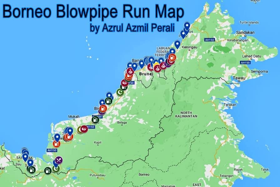 Borneo blowpipe run info map