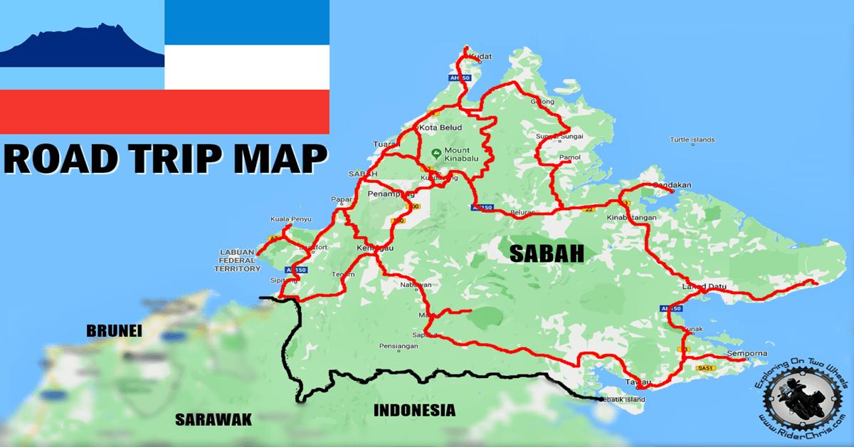 sabah road trip map