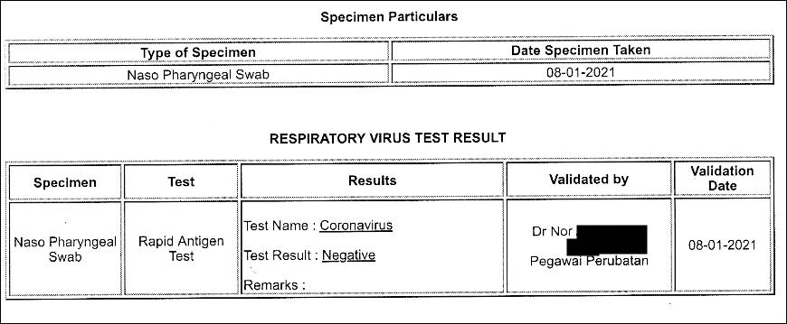 Chris's covid test