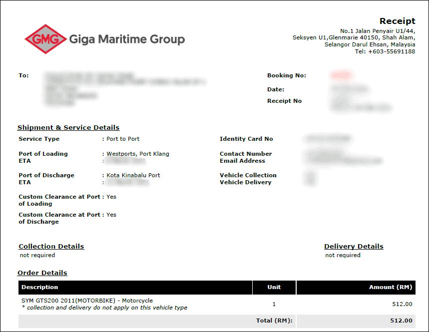 giga shipping receipt