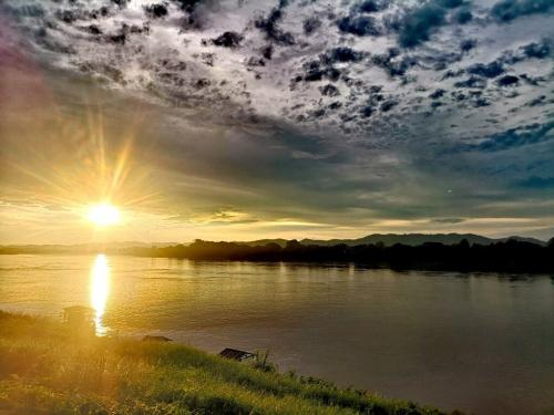 Sunset at Chiang Khan overlooking Mekong river