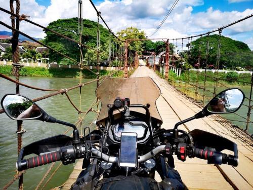 Vang Vieng wooden bridge crossing